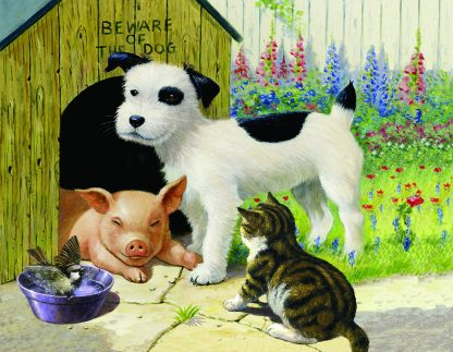 Unlikely Friend puzzle - dog, pig, cat