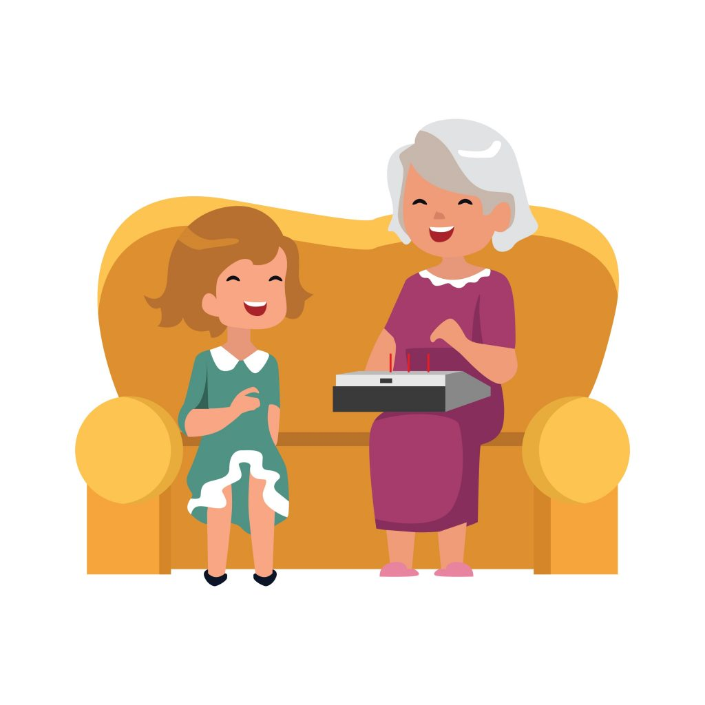 grandmother and granddaughter interactiving with game therapy system